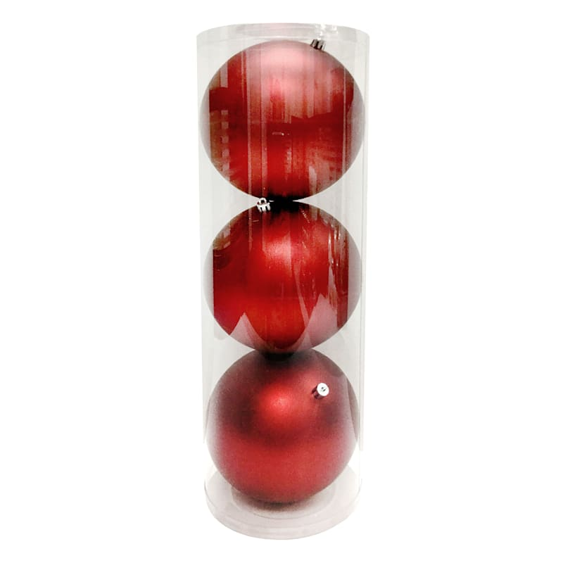 3-Count Red Matte Shatterproof Ornament