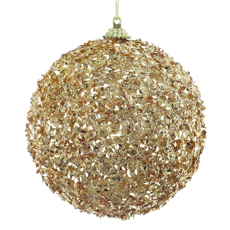 Gold Beaded Ball Ornament, 4""