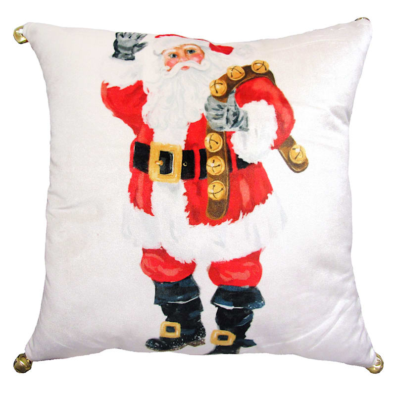 "FAO Schwarz Santa Throw Pillow with Jingle Bells, 18"" square"