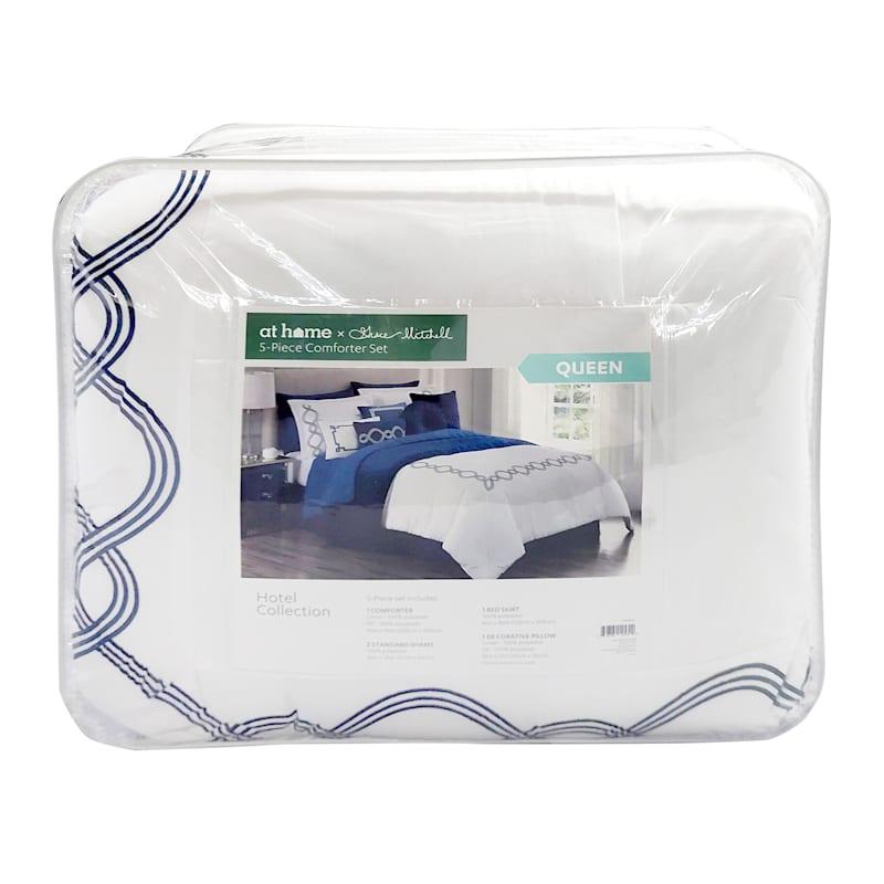 Grace Mitchell White & Navy 5-Piece Queen Comforter Set