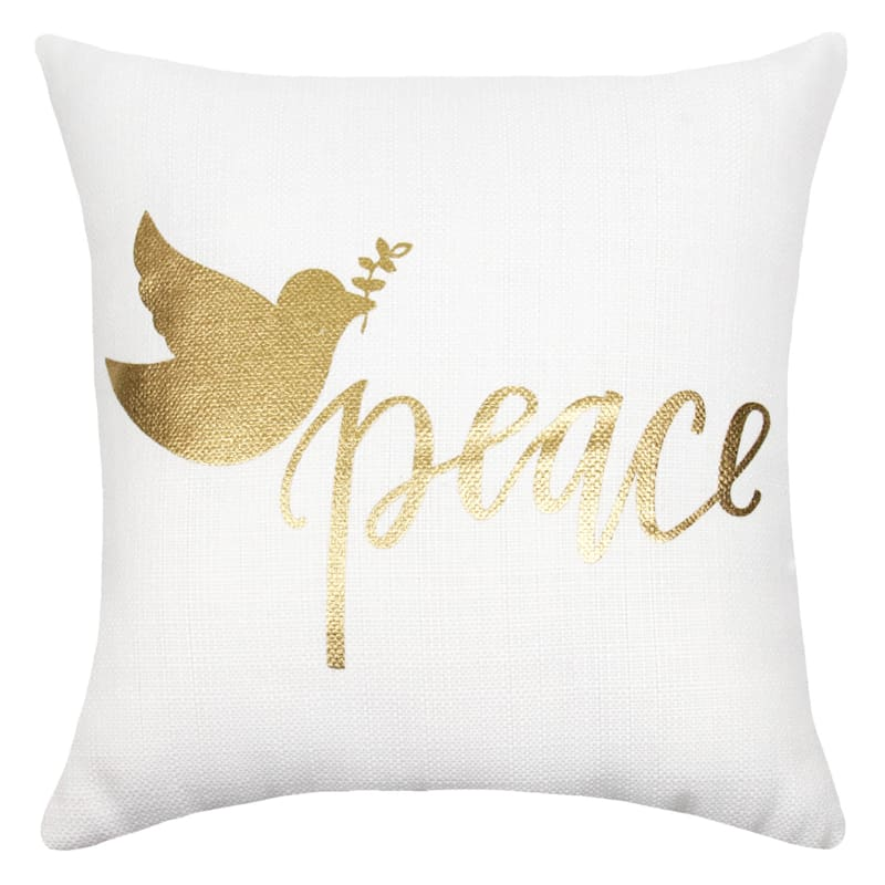 "Peace Gold Dove Throw Pillow, 18"" square"