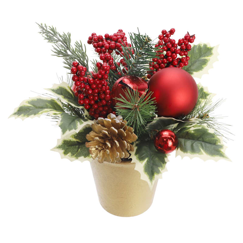 Gold Pot with Pine & Holly