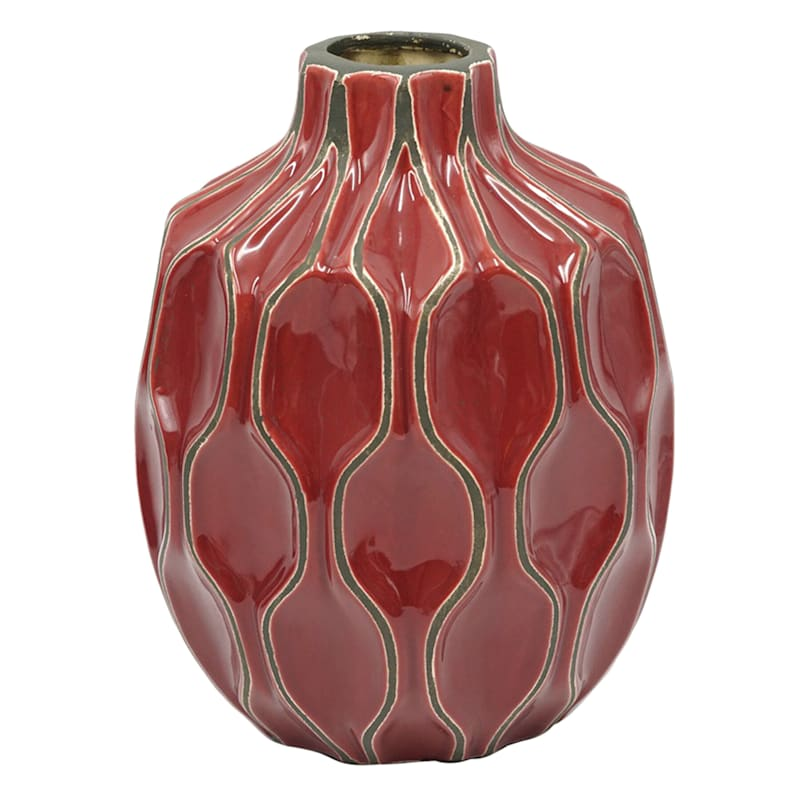 6X8 Katherine Raspberry Ceramic Vase