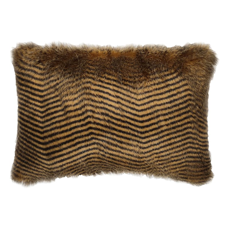 FAUX OSTRICH FUR PILLOW GOLD