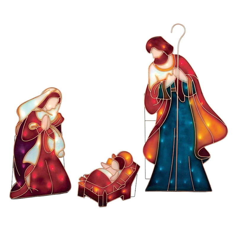 Pre-Lit 3-Piece Nativity Set