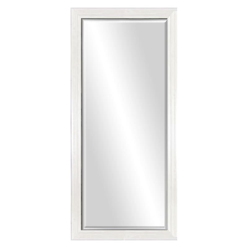 """29"""" x 63"""" Beveled Leaner Mirror, White"""