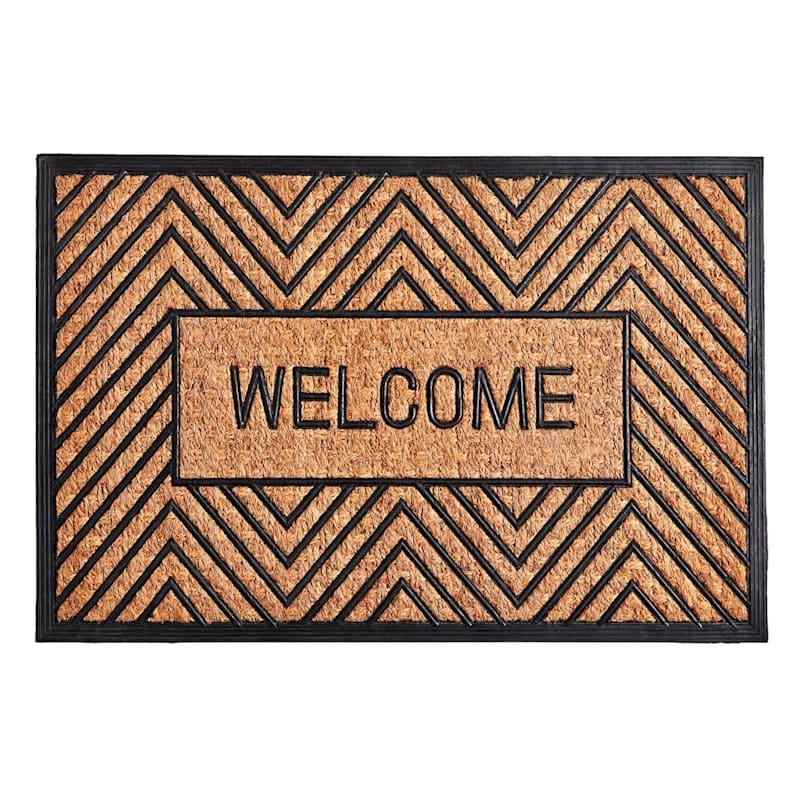 """Mansion """"Welcome"""" Geo Coir Doormat, 24"""" x 36"""""""