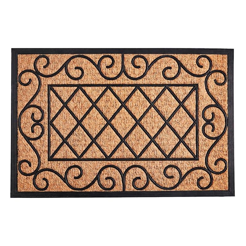 "Mansion Scroll Border Coir Doormat, 24"" x 36"""