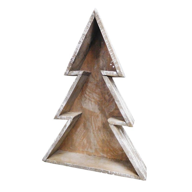 Christmas Tree Wooden Wall Shelf, Large