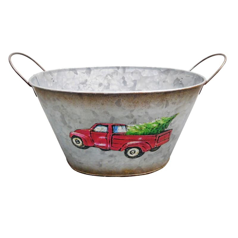 Red Truck Metal Bucket