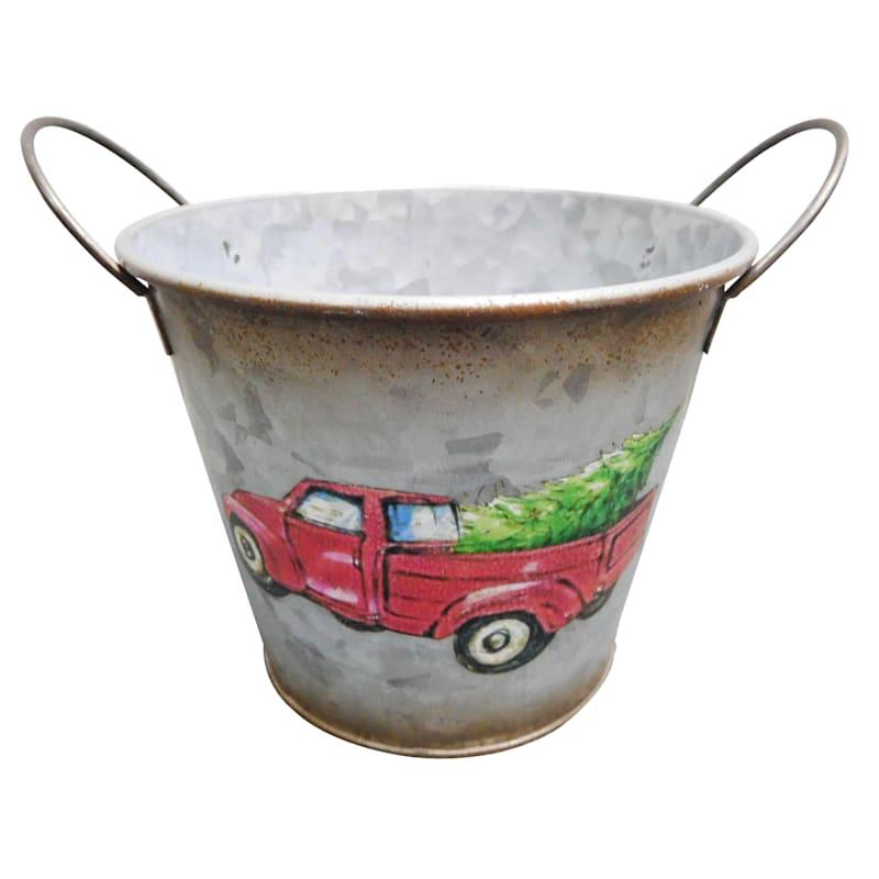 Red Truck Metal Bucket