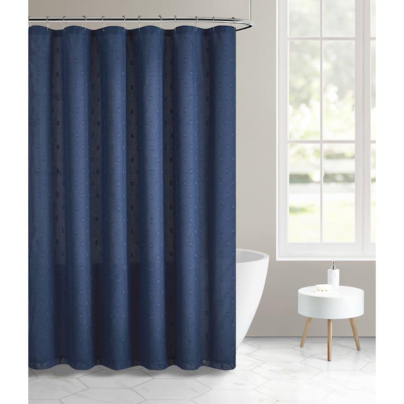 Larsson Navy Texture Woven Shower Curtain 72X72