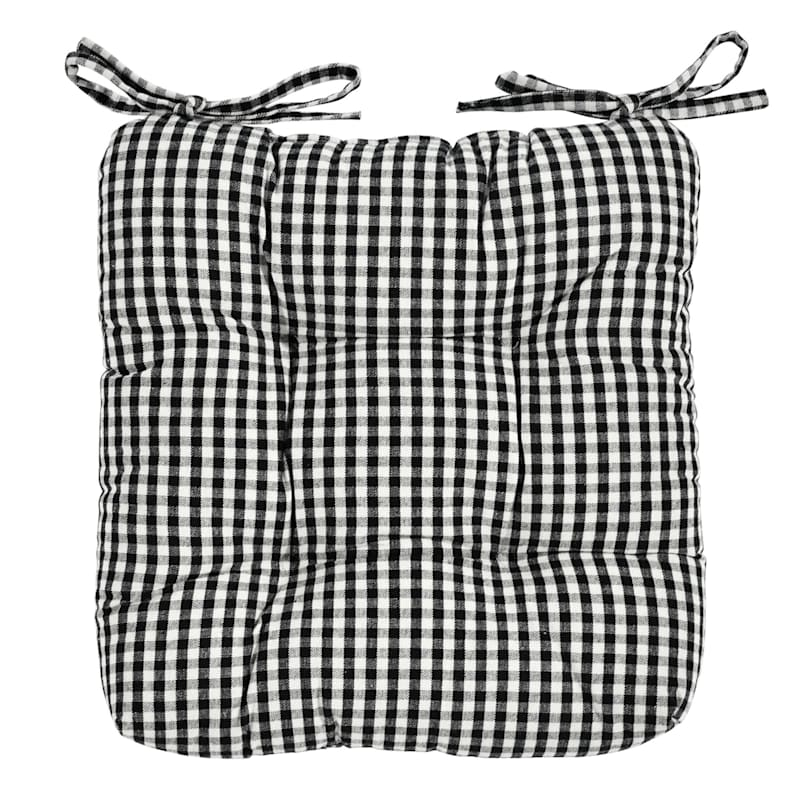 Gingham Chair Pad Cotton Yarn Dyed Woven Black