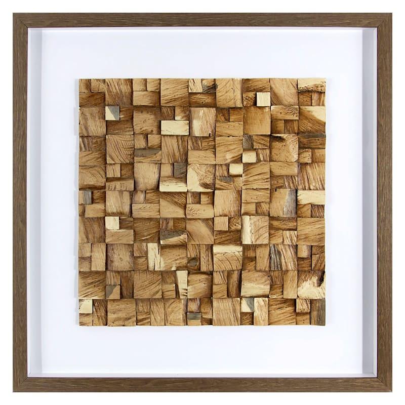 """Faux Wood Tile Framed Under Glass, 23"""" x 23"""""""