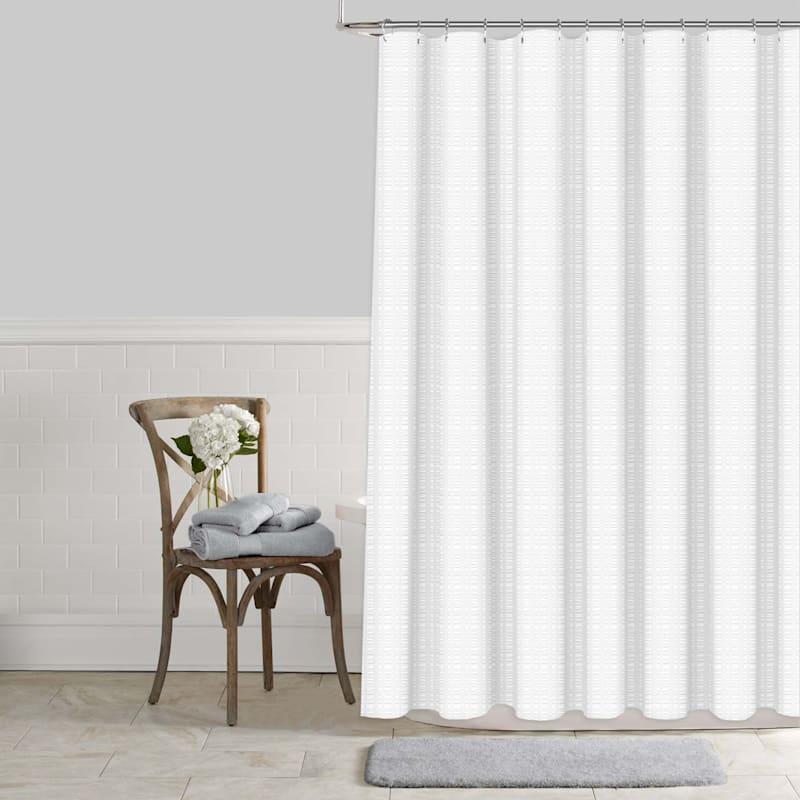 White Seersucker Embossed Shower Curtain 72X72