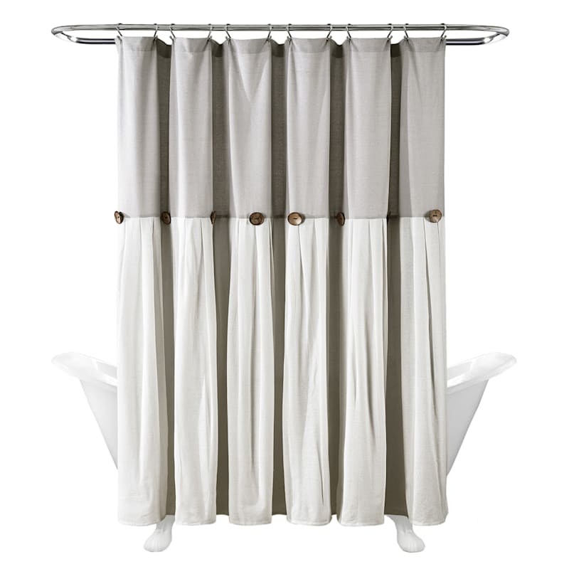 Light Grey Faux Linen Pleated Shower Curtain With Buttons 72X72