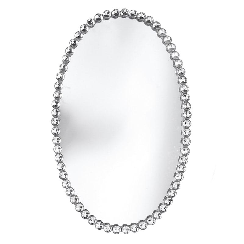 14x22 Metal Oval Silver Beaded Mirror, Oval Silver Beaded Mirror