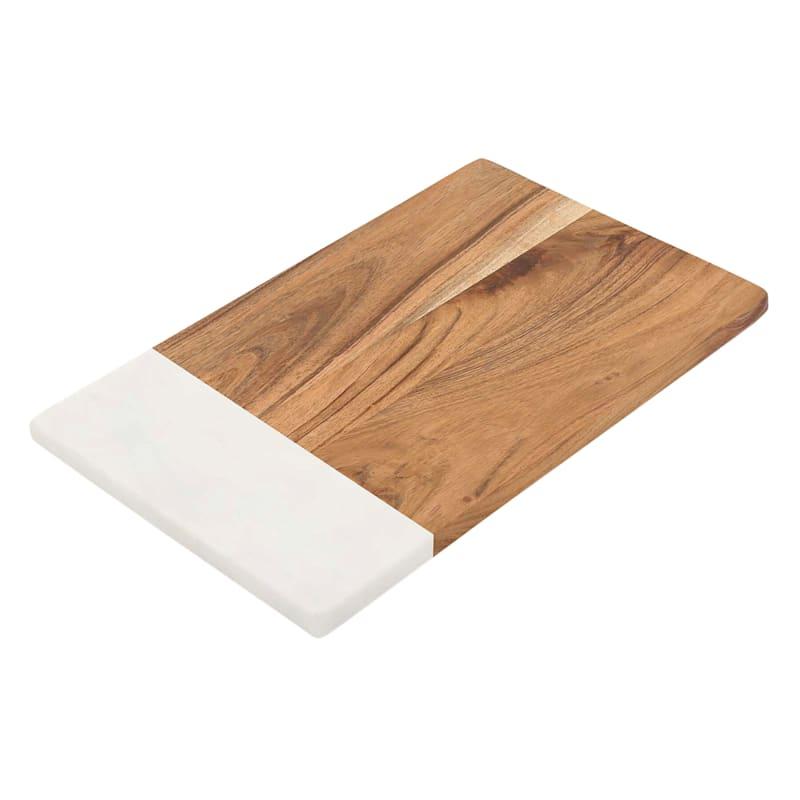 Rectangular Acacia Wood/White Marble Serve Board