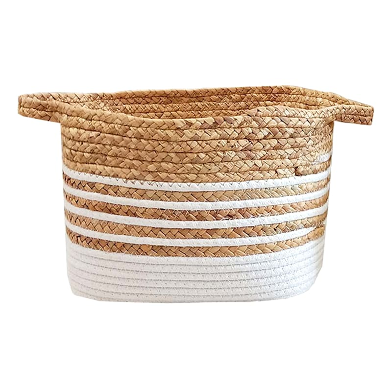 """Natural Basket with White Stripes, 16"""""""
