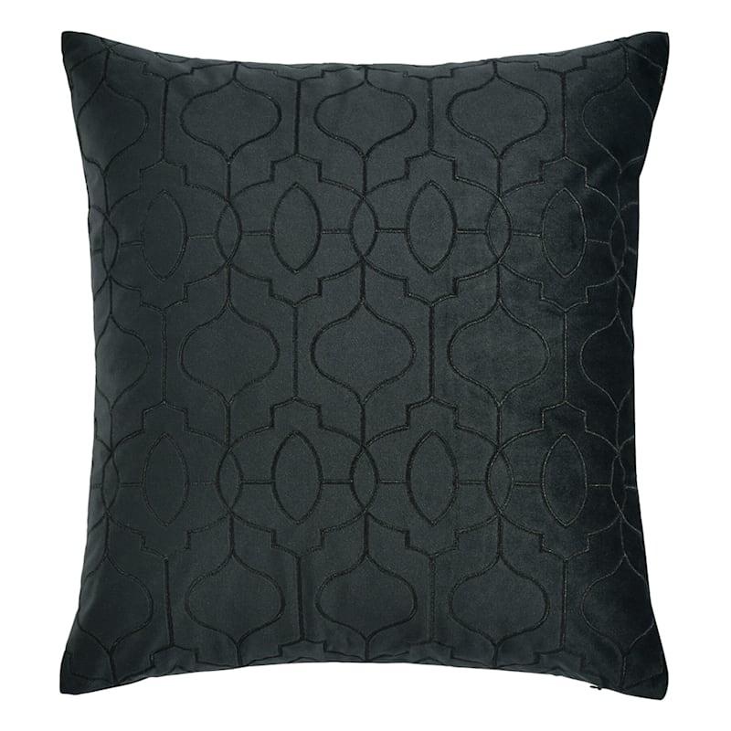 Black Geo Embossed Velvet Pillow 18X18