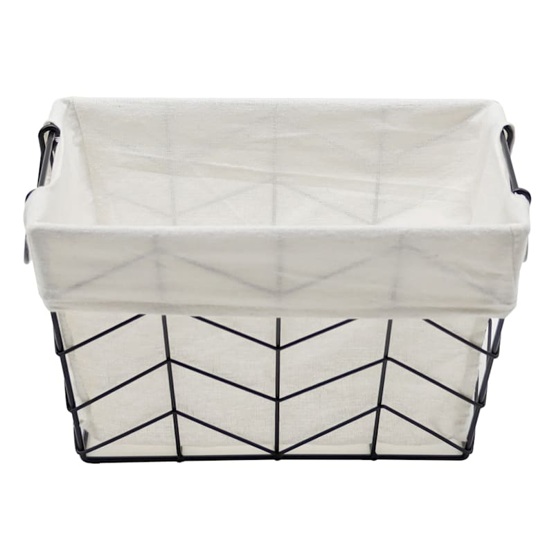 Rectangle Chevron Wire Black Basket W/Handle S