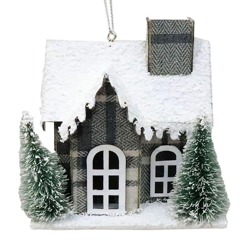 "Plaid Holiday House Ornament, 4"""