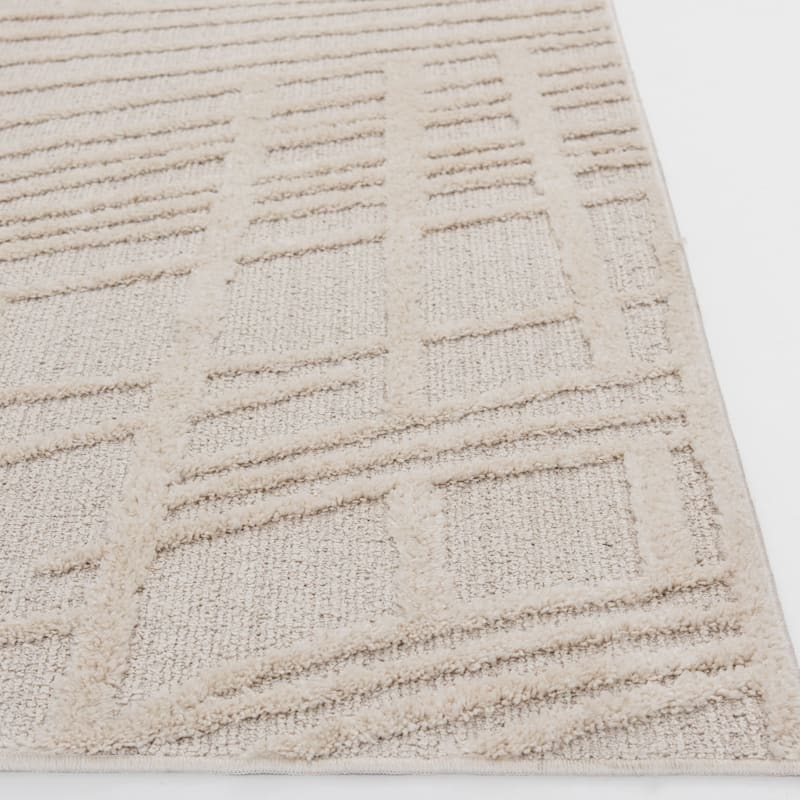 (D471) Graphix Ivory Tufted Area Rug With Non-Slip Back, 5x7