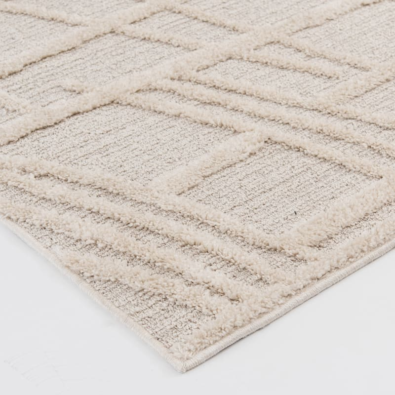 (D471) Graphix Ivory Tufted Area Rug With Non-Slip Back, 8x10