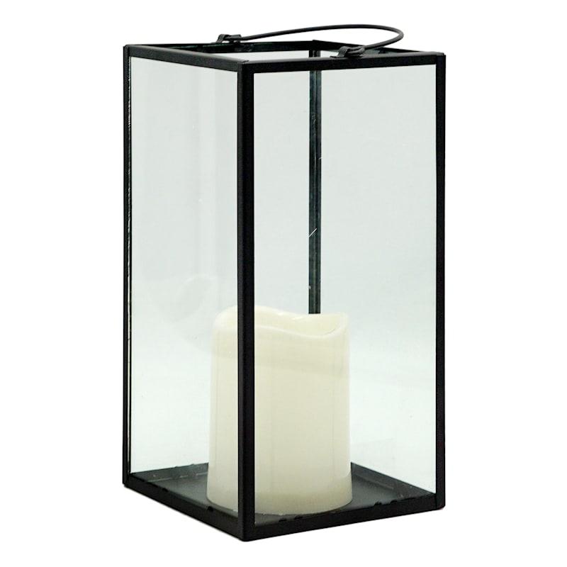 5X10 Black LED Candle Lantern