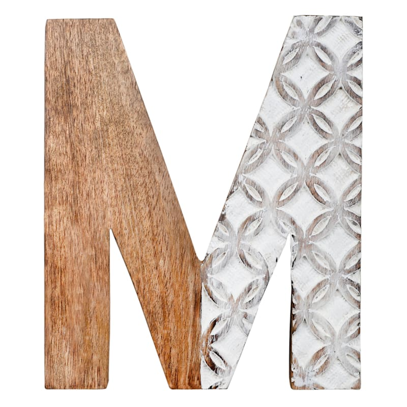 BROWN CARVED MONOGRAM M
