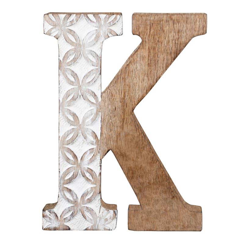 BROWN CARVED MONOGRAM K