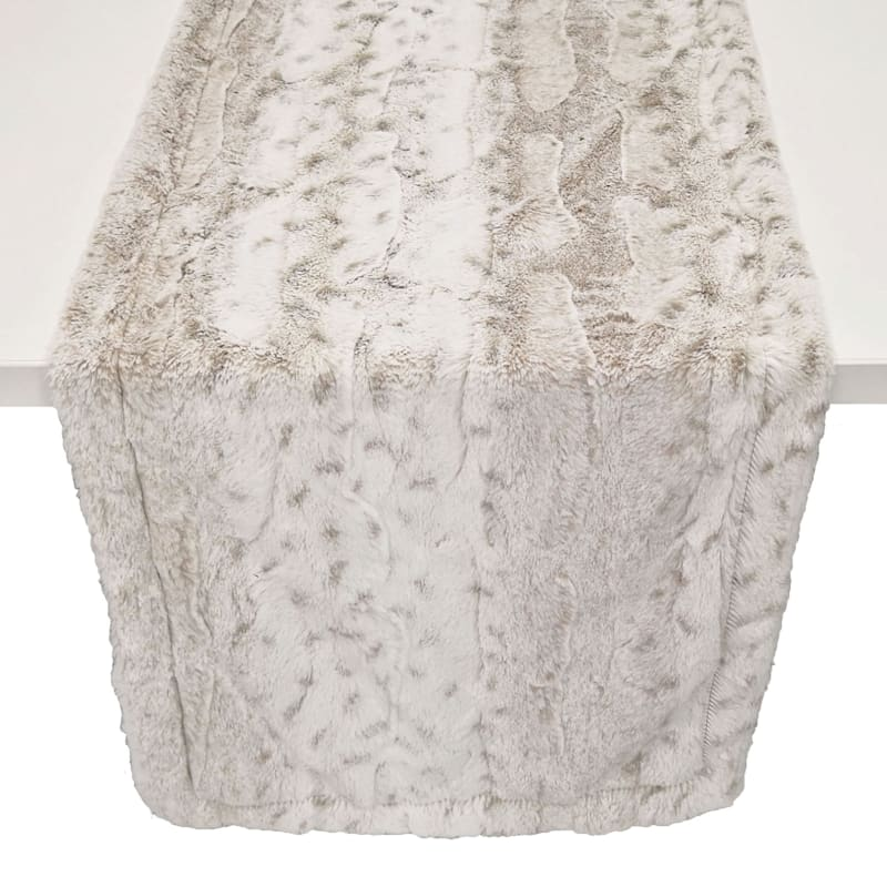 Snow Leopard Faux Fur Table Runner
