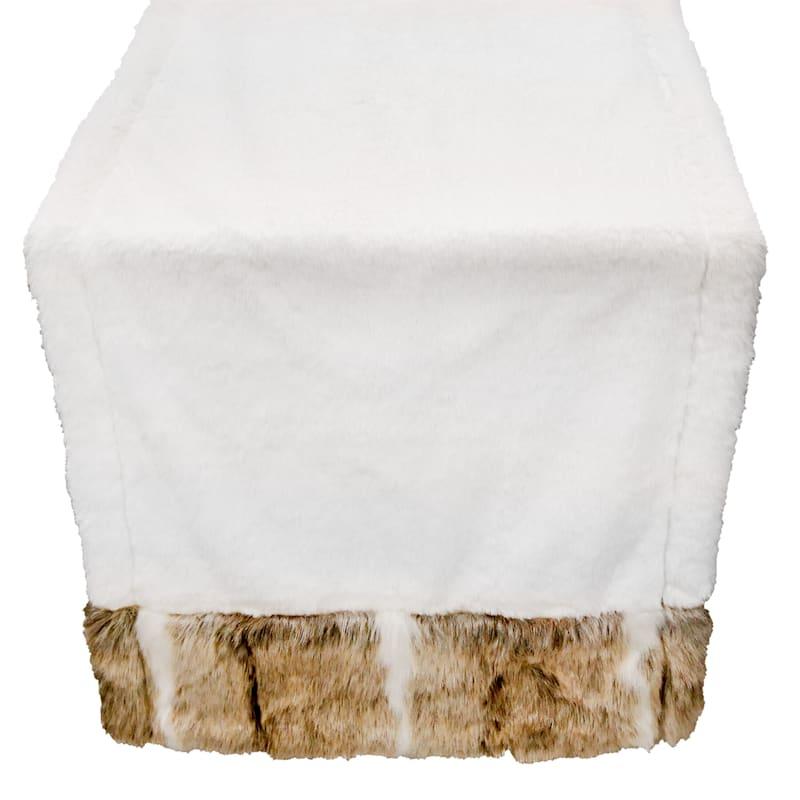 White Fur Trim Table Runner