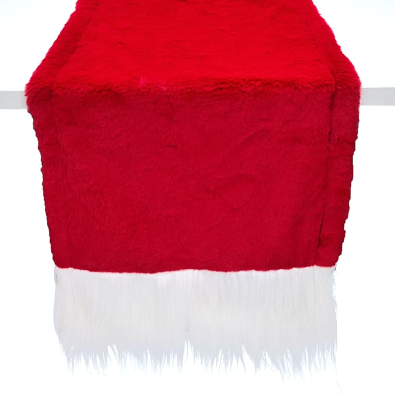 Red with White Trim Fur Table Runner