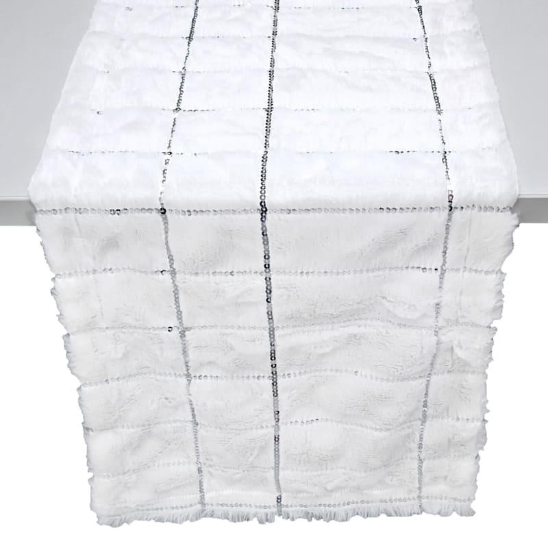 White& Silver Sequin Table Runner