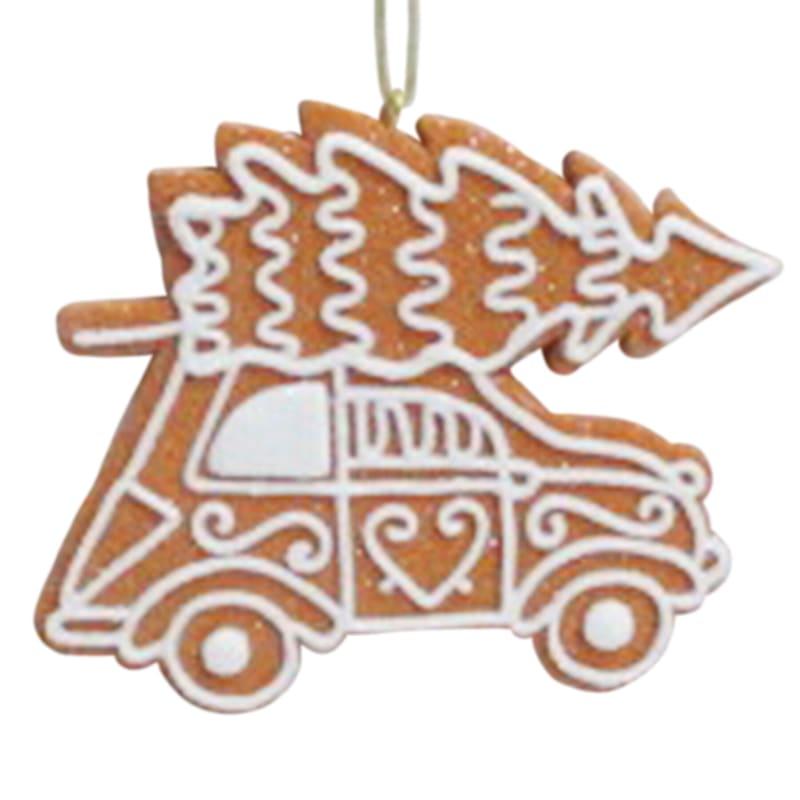 """Gingerbread Car Ornament, 4"""""""