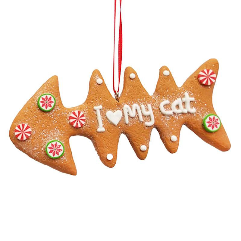 I Love My Cat Fish Bone Ornament