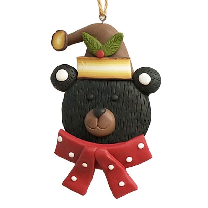 Red Scarf Bear Ornament, 4""