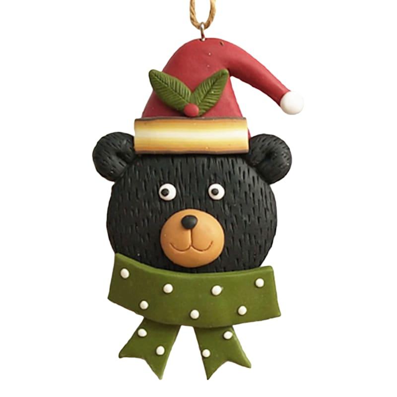 "Green Scarf Bear Head Ornament, 4"""