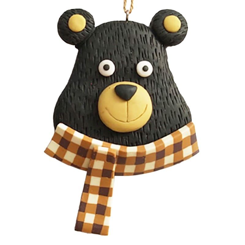 Plaid Scarf Bear Head Ornament