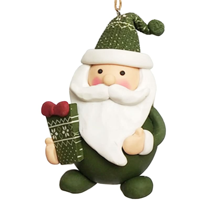 Green Hat Santa Ornament, 4""