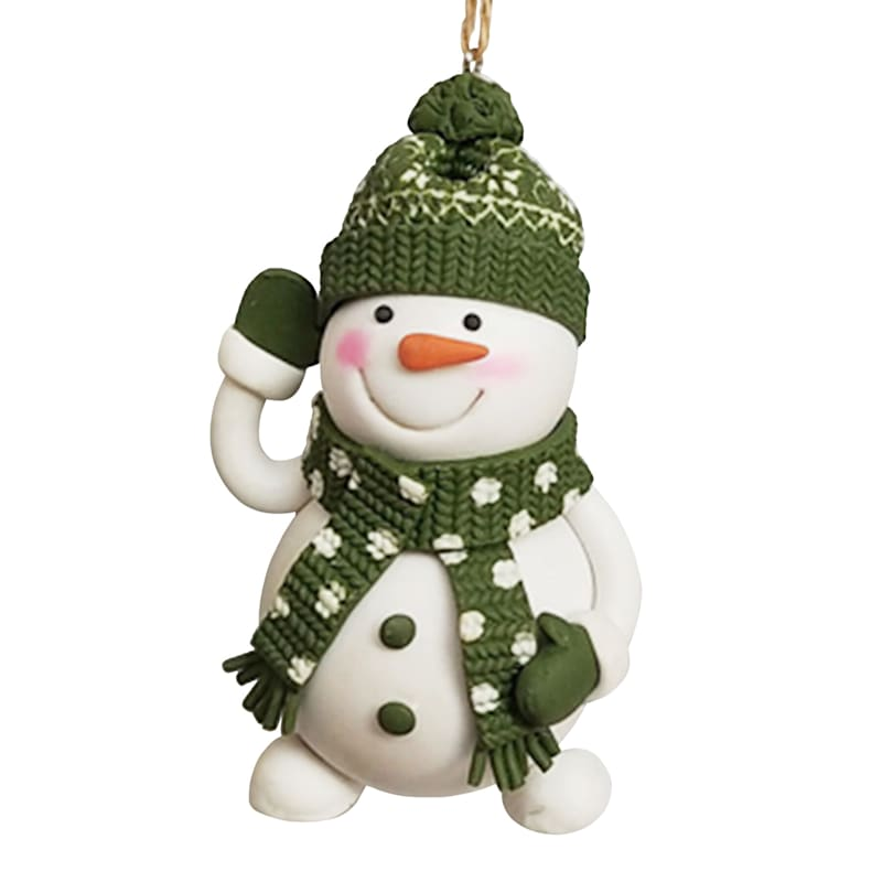 Green Scarf & Hat Snowman Ornament