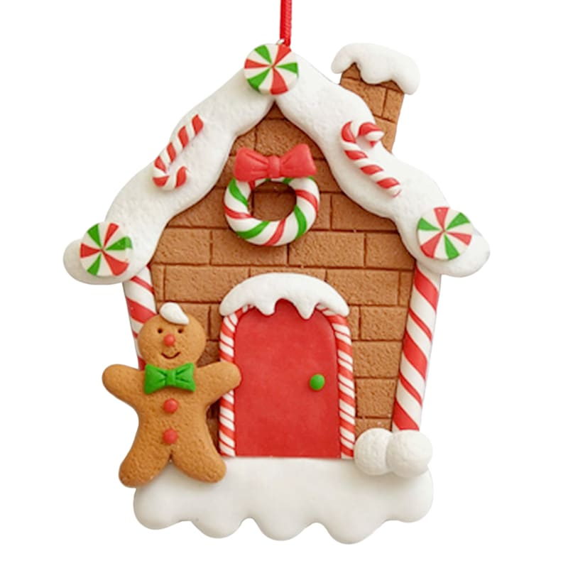 """Mr.Gingerbread & House Ornament, 4.5"""""""