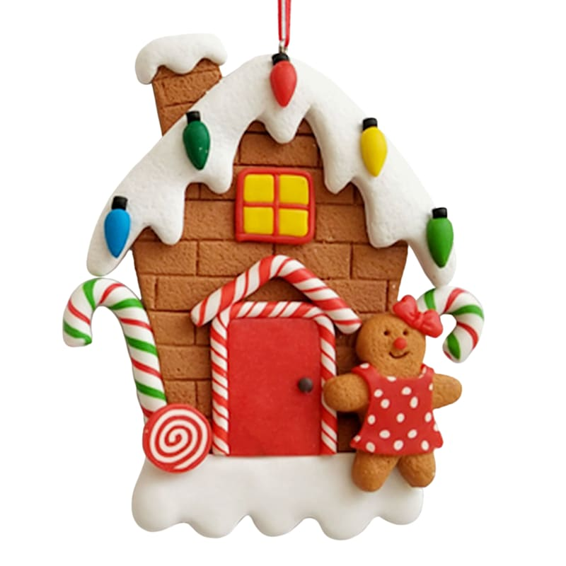 """Miss Gingerbread & House Ornament, 4.5"""""""