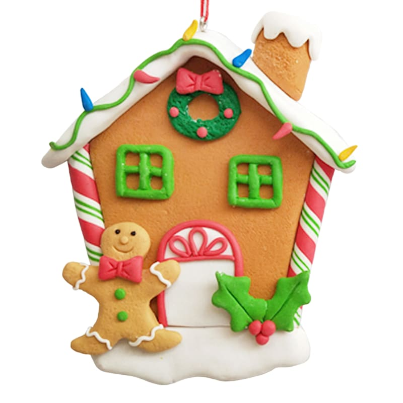 Holly & Gingerbread House Ornament