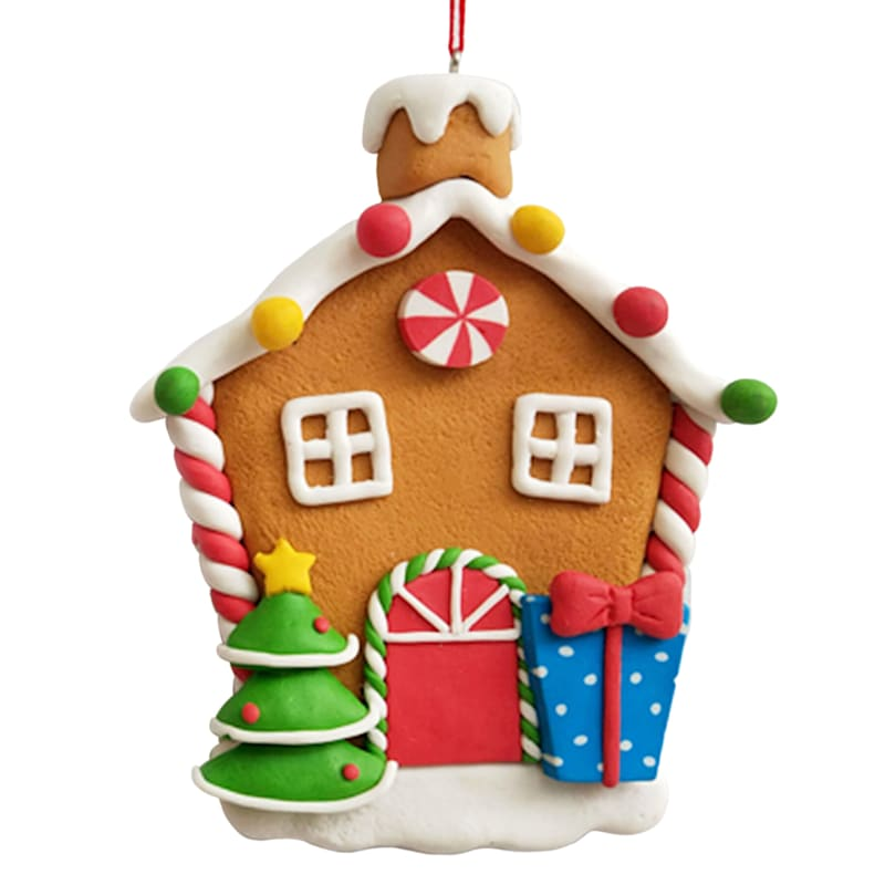 """Gingerbread House with Presents Ornament, 4.5"""""""