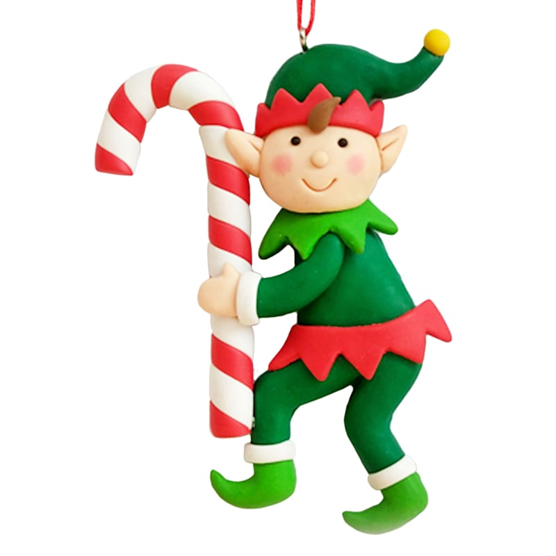 Elf Holding A Candy Cane Ornament, 4""