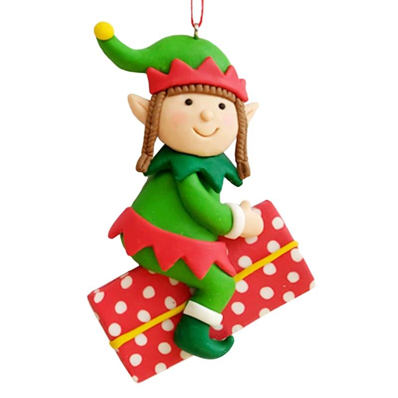 "Elf on Gift Ornament, 4"""