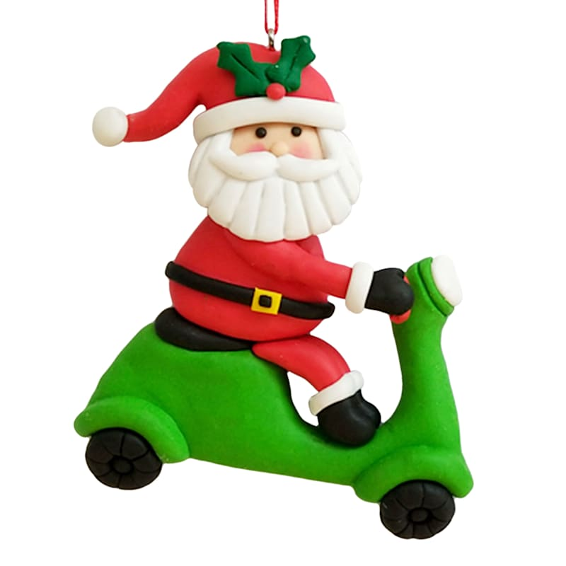 Scooter Riding Santa Ornament, 4""