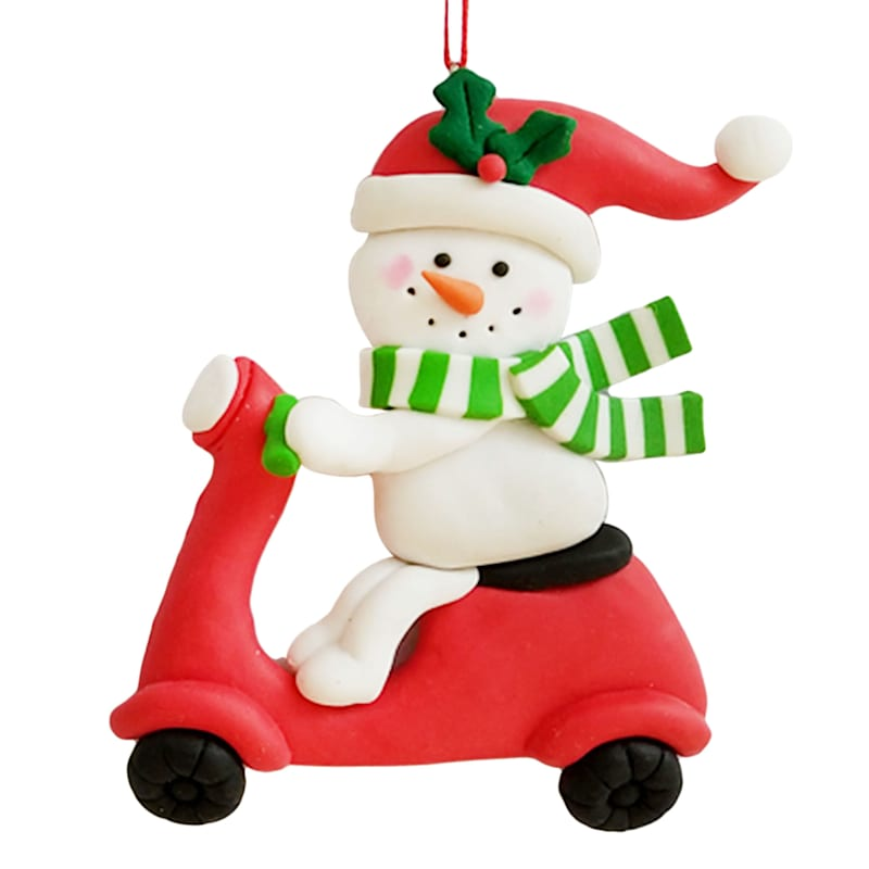 """Snowman on Red Scooter Ornament, 4"""""""